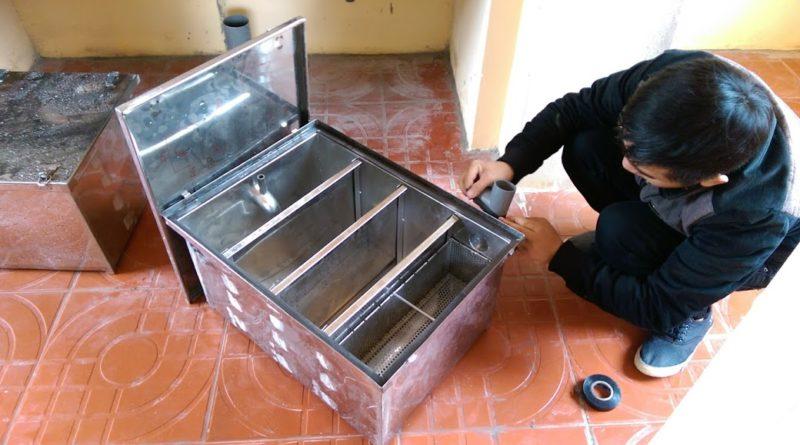 Cấu tạo bể tách mỡ 4 ngăn lắp đặt cho nhà hàng