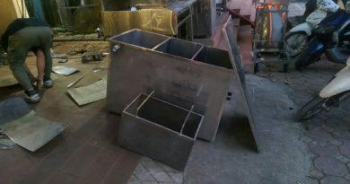 bể tách mỡ và giỏ rác inox