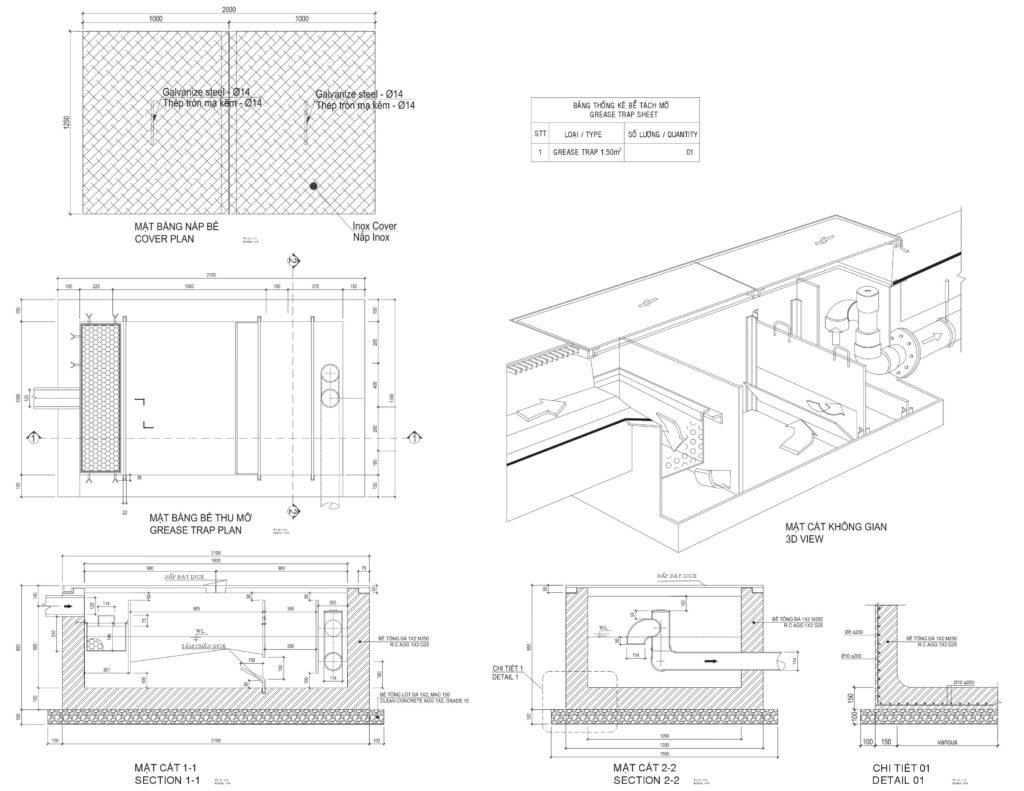 bản vẽ tổng thể bể tách mỡ xây bằng bê tông