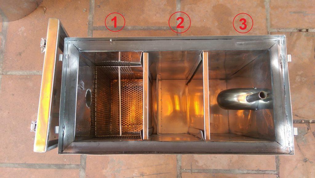 cấu tạo ba ngăn thùng lọc mỡ