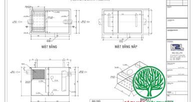 Bản vẽ kỹ thuật của bể tách mỡ Hùng Phát