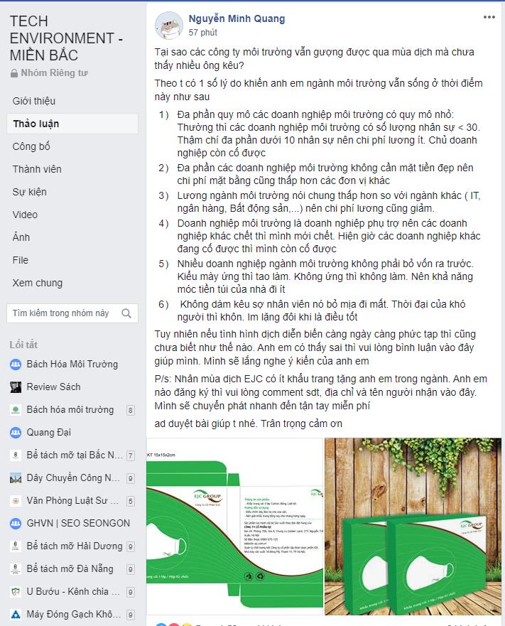 Nguyễn Minh Quang chia sẻ lý do vì sao doanh nghiệp môi trường vẫn sống tốt