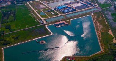 hồ chứa nước của nhà máy nước sạch sông đuống