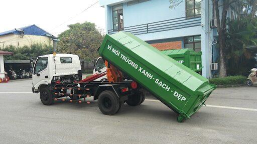 Xe chở rác Hooklift hino với 2 bộ phận có thể tách rời