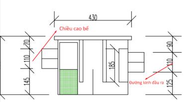 Tỉ lệ đường kính ống vào ra và chiều cao bể tách mỡ