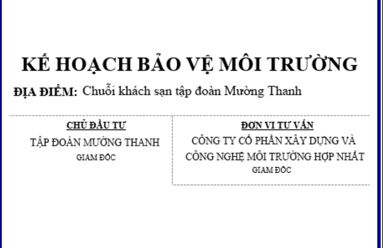 lap ke hoach bao ve moi truong co khach san