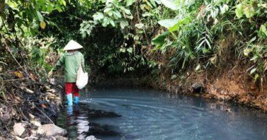 Nước mặt nhiễm dầu thải do kẻ xấu đổ xuống